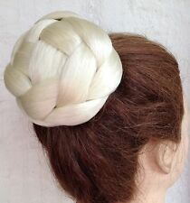 Light blonde fake pony tail clip sew on braid plait bun hair extension updo
