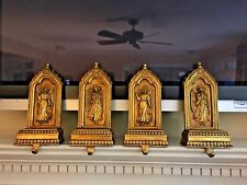 Set of 4 Gold Angels Christmas Stocking Holders