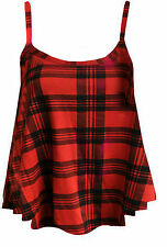 WOMENS LADIES PRINTED SWING VEST STRAPPY SLEEVELESS FLARED CAMI TOPS