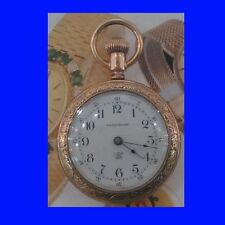 Elegant 14k Gold Waterbury 7 J Duplex Pocket Watch 1902