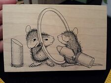 House Mouse LIPSTICK Stampa Rosa Rubber Stamp MIRROR Amanda Puts on Makeup