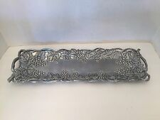 Arthur Court Platter Serving Dish Tray Aluminum Grape Vine Wine Leaf 1995