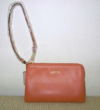 CALVIN KLEIN KENNER LEATHER WRISTLET Coral Color - #3654 - New with Tag