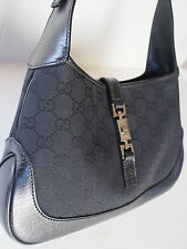 100% Auth GUCCI Black Leather Canvas GG Logo Jackie O Shoulder Hobo Handbag MINT