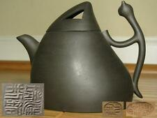 EXCELLENT 14cm BLACK CAT CHINESE YIXING ZISHA SCHOLAR CARVED TEAPOT