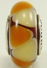 Genuine Pandora  Murano Glass Brown Cream Triangles Retired Charm Bead 790638