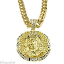 "Jesus Piece Round Iced-Out Round Face Pendant 30"" Cuban Chain Gold Tone Necklace"