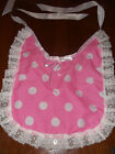 PINK WHITE SPOTTY ADULT BABY SISSY BIB LACE TRIMMED SATIN TIES PLASTIC BACKED