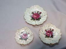 Set of 3 Leaf Shaped Ring Or Trinket Dishes Vintage Japan