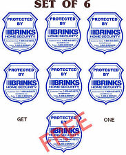 6 BRINKS HOME ALARM SECURITY DECAL- YOU PAY FOR 6 AND GET 7 - SAME DAY SHIPPING