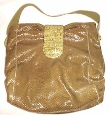 NEW CHI BY CARLOS FALCHI OLIVE SNAKESKIN & LEATHER HANDBAG