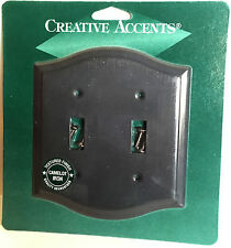 CREATIVE ACCENTS Textured Camelot Iron Steel Double Light Switch Wallplate