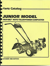 Troy Bilt Junior Tiller Parts Catalog/Manual 1986