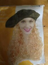 PIRATE COSTUME HAT WITH LONG BLONDE WAVY HAIR WIG FANCY DRESS  Free Shipping UK