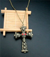 Charm Antique Chain Necklace Red Crystal Eyes Skeleton Skull Head Cross Pendant