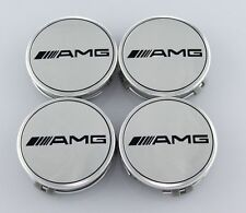 MERCEDES-BENZ 4PC 75mm AMG CHROME CENTER WHEEL HUB CAP CAPS EMBLEM BADGE