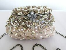 Mary Frances  neutral beige color beaded purse w/ chain shoulder strap