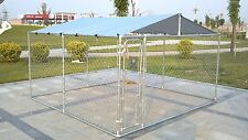 Backyard Dog Kennel Outdoor Pet Pen Chain Link Fence House Large Cage 10'x10'x6'