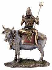 Hindu Deity Lord Shiva on Nandi the Bull Bronze Finished Resin Statue #3271
