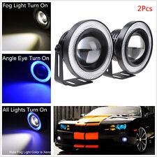 Car Angel Eye LED COB DRL Blue Halo Ring Projector Glass Lens Fog Driving Lights