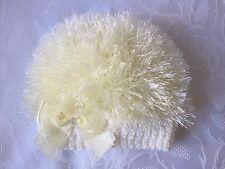"""Hand Knitted Bebé Niñas Crema Beanie Sombrero de Lana de pestañas 0 - 3 meses """"NUEVO"""""""