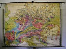 Schulwandkarte wunderschöne alte Geologische Mitteleuropa 208x152c ~1950 vintage