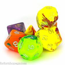 Assorted Toxic poly dice set 7 polynomial for d20 RPG roleplay