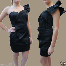 Lipsy Black Seduce One Shoulder Pleated Fan Bodycon Prom Dress  SZ 8 RRP £120