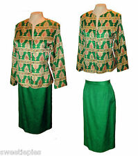 2-PC Suit: Skirt Blazer-Top, Adrianna Papell, 100% Silk, Lined Green Jacquard 16