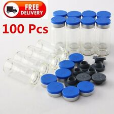 100 Sets 10ML Clear Glass Vials Stopper&Flip Off Seals Aluminum Blue Cap Bottles