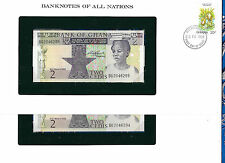 Banknotes of All Nations Ghana 1982 2 Cedis  P18d UNC Prefix BG 2 Consecutive
