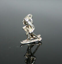 Sterling Silver Modern Skier Charm / Pendant with Poles and Skis ~ Jump Ring