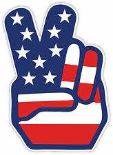 """USA American flag peace sign sticker decal 4"""" x 5"""""""