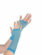 1X LADIES WOMENS ADULT LONG FISHNET FINGERLESS GLOVES ONE SIZE MITTENS 11 COLOUR