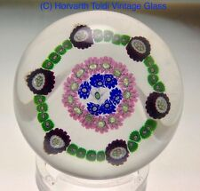1850 Clichy Concentric Six Pointed Star Glass Millefiori Glass Paperweight.