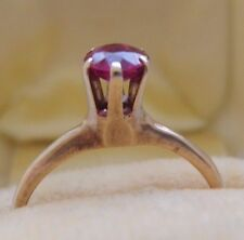 RARE ANTIQUE OSTBY BARTON 14K YG TALL SET RUBY SOLITAIRE ENGAGEMENT RING SZ 5
