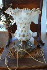 """FENTON TABLE LAMP WHITE  """" COIN DOT """" WITH GOLD TRIM RUFFLE TOP"""