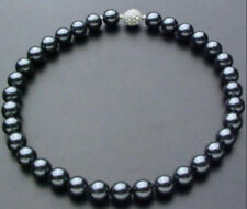 "10mm Black South Sea Shell Pearl Necklace 18"" Crystal magnet clasp"