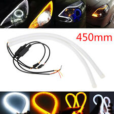2X45CM Flexibel Weich LED Tagfahrlich Light Tube Strip DRL W/Turn Signal Blinker