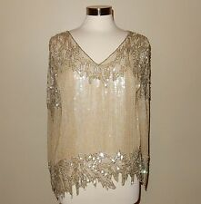 Vintage Beaded Sequin Tunic Top With ZigZag Hem Size M