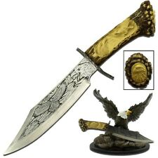 """9"""" BALD EAGLE FIXED BLADE KNIFE w/ RESIN STAND Collectible Decorative Fantasy"""