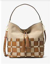 Michael Kors Vivian Woven Large tote Shoulder Bag Suded Beige Shell Acorn NWT