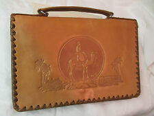 Vintage embossed Leather Satchel Briefcase Zariffa Cairo Egypt