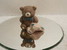"""Old Porcelain Little Brown Bear Figurine Holding His Security Blanknet ~ 2"""" Tall"""