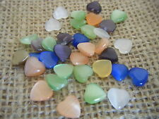 10 8mm Heart Flat Back Cabochon Cat Cats Eye Catseye Fiber Optic Glass Mix Mixed