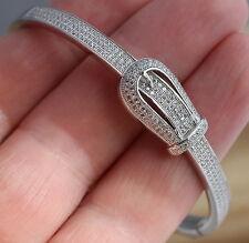 925 Sterling Silver Bangle Bracelet CZ Belt Buckle Oval 58 x50 mm UK Hallmarked