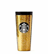 NEW Starbucks Stainless Steel Snow Flake Gold Tumbler/16 oz