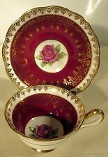 Royal Albert Picardy Rose Pattern Cup & Saucer Maroon & Gold