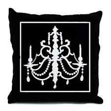 "Black White Chandelier Elegent Halloween Paris Throw Pillow 18"" Decor Bedding"