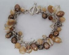 SOLID 925 STERLING SILVER MULTI BROWN & CREAM PEARLS TOGGLE CLASP BRACELET 7.5""
